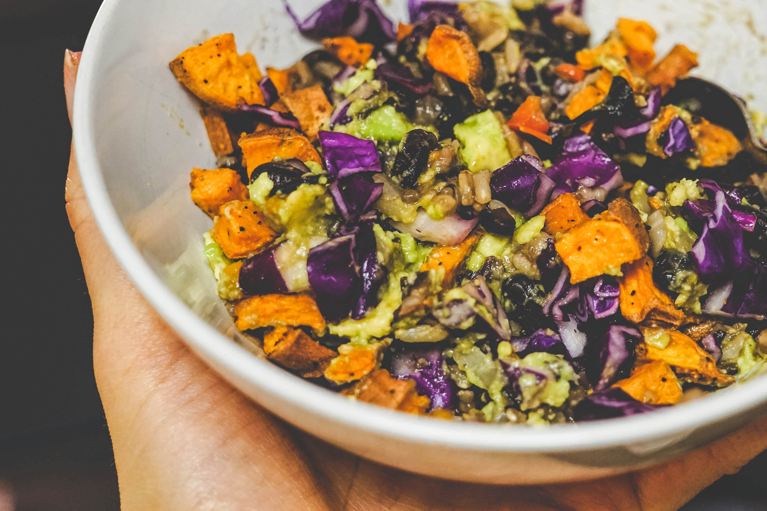 Roasted Sweet Potato And Purple Cabbage Burrito Bowl Vegan Kalemekristie