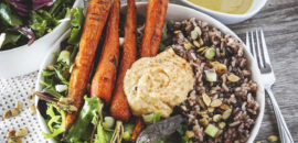 Roasted Carrots, Wild Rice, and Home-Made Hummus Salad
