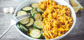 Vegan Mac + Cheese With Lightly Sautéed Zucchini (Nutritional Yeast Free)