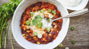 Vegan Chili with a Dollop of Vegan Sour Cream